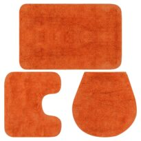 vidaXL Badematten-Set 3-tlg. Stoff Orange